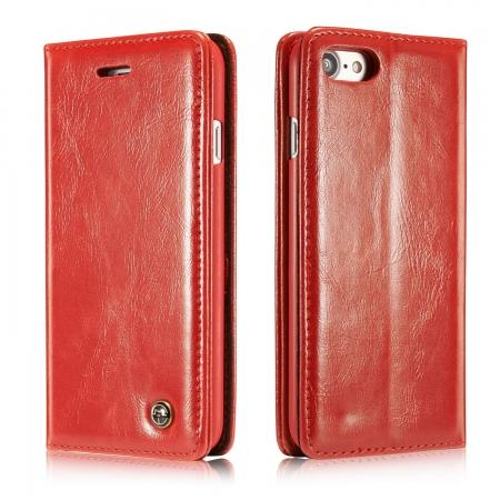 Oil Wax Leather Wallet Card Slot Holder Flip Stand Cases for iPhone 7 4.7inch - Red