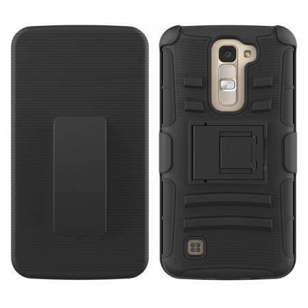 Hyper Shock Rugged Hybrid Hard Shell Kickstand Fitted Holster Clip Case for LG Phoenix 2 - Black