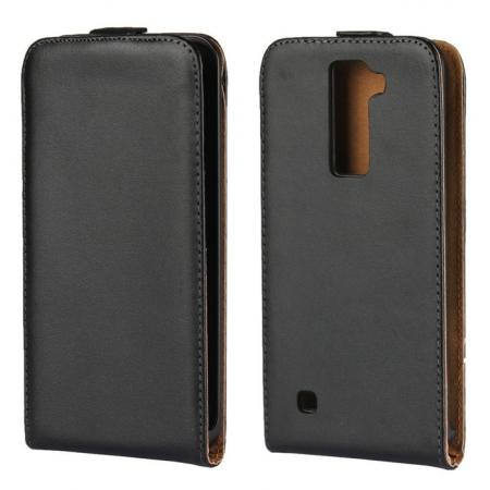 Genuine Real Leather Vertical Flip Case Cover for LG K8 - Black