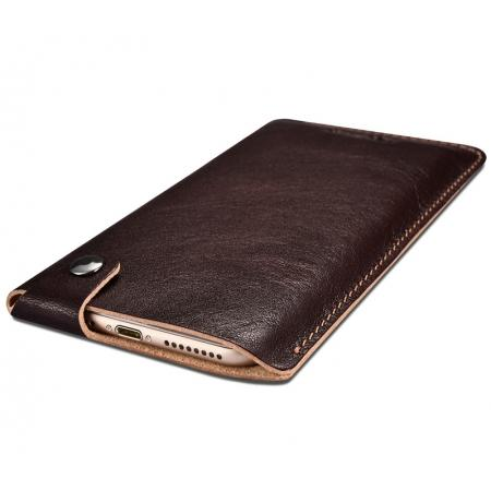 outlet store 559b1 4361d ICARER Vegetable Tanned Leather Straight Leather Pouch for iPhone 7 4.7inch  - Coffee