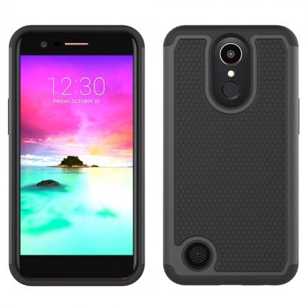 Shockproof Armor Dual Layer Hybrid Protective Case For LG K10 (2017) / LV5 / K20 Plus - Black