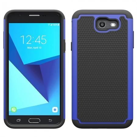 Shockproof Dual Layer Hybrid Armor Protective Case for Samsung Galaxy J7 (2017) / J7 V / J7 Sky Pro - Dark blue