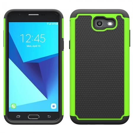 Shockproof Dual Layer Hybrid Armor Protective Case for Samsung Galaxy J7 (2017) / J7 V / J7 Sky Pro - Green