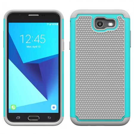 Shockproof Dual Layer Hybrid Armor Protective Case for Samsung Galaxy J7 (2017) / J7 V / J7 Sky Pro - Teal&Gray