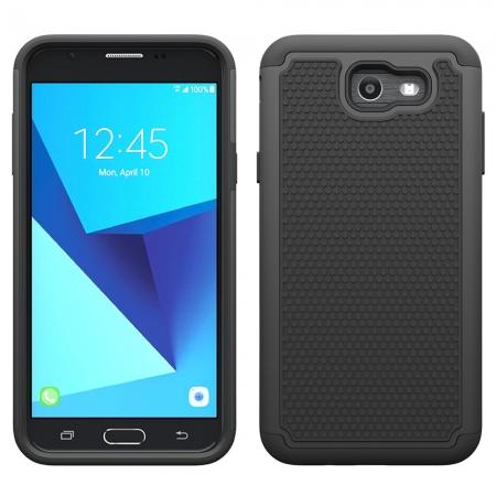 Shockproof Dual Layer Hybrid Armor Protective Case for Samsung Galaxy J7 (2017) / J7 V / J7 Sky Pro - Black