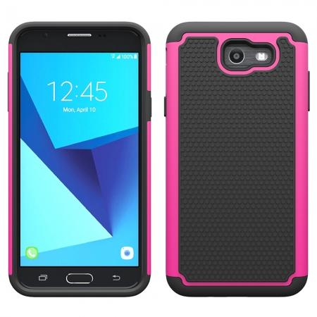 Shockproof Dual Layer Hybrid Armor Protective Case for Samsung Galaxy J7 (2017) / J7 V / J7 Sky Pro - Hot pink