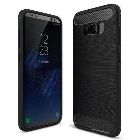 Tough Carbon Fiber With Brushed Texture TPU Protective Case Cover For Samsung Galaxy S8 - Black