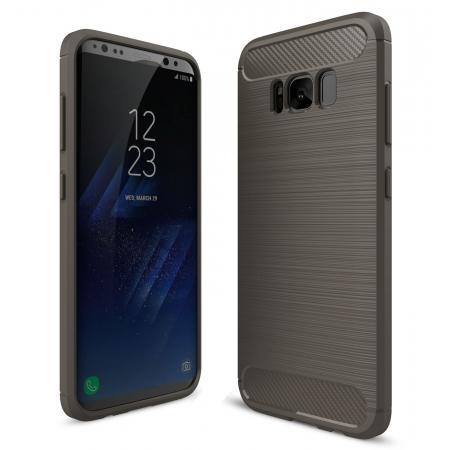 Tough Carbon Fiber With Brushed Texture TPU Protective Case Cover For Samsung Galaxy S8 - Gray