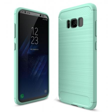 Tough Carbon Fiber With Brushed Texture TPU Protective Case Cover For Samsung Galaxy S8 - Mint green