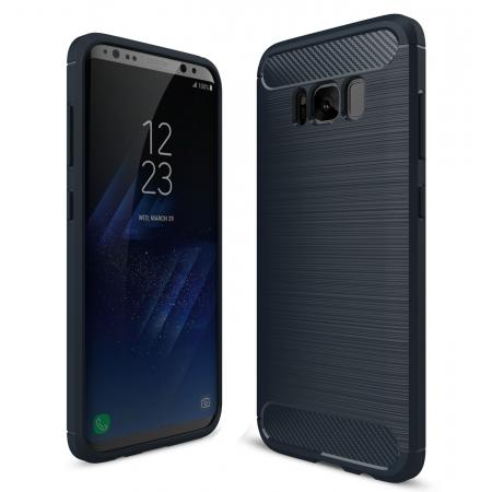 Tough Carbon Fiber With Brushed Texture TPU Protective Case Cover For Samsung Galaxy S8 - Navy blue