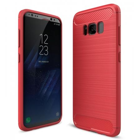 Tough Carbon Fiber With Brushed Texture TPU Protective Case Cover For Samsung Galaxy S8 - Red