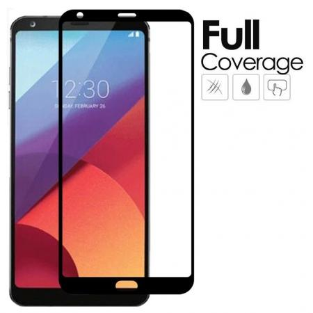 BLACK Full Coverage Genuine Tempered Glass Film Screen Protector for LG G6