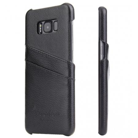 save off 5a48c 5aa58 Genuine Leather Back Cover Case with 2 Credit Card ID Slots Holders for  Samsung Galaxy S8+ Plus - Black