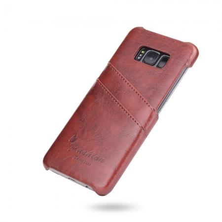 save off 69d3a fb392 Oil Wax Pu Leather Credit Card Holder Back Case Cover for Samsung Galaxy S8  Plus - Brown