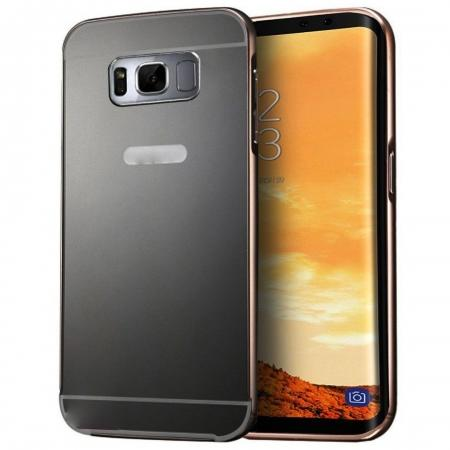 Ultra-thin Luxury Aluminum Metal Mirror PC Back Case Cover for Samsung Galaxy S8+ Plus - Black