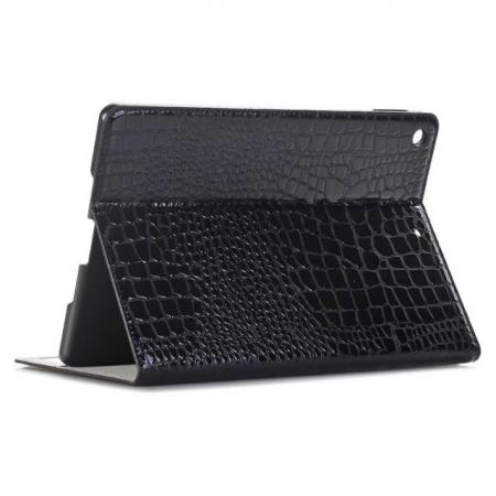 Crocodile Folio Flip Alligator Pattern Leather Protective Stand Cover for New iPad 9.7 (2017) - Black