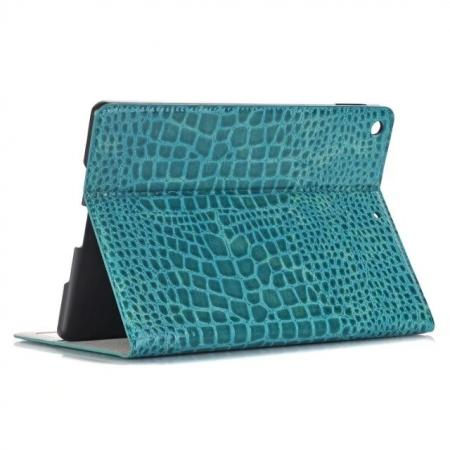 Crocodile Folio Flip Alligator Pattern Leather Protective Stand Cover for New iPad 9.7 (2017) - Blue