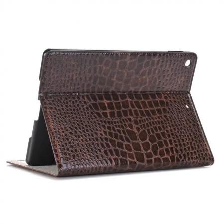 Crocodile Folio Flip Alligator Pattern Leather Protective Stand Cover for New iPad 9.7 (2017) - Brown