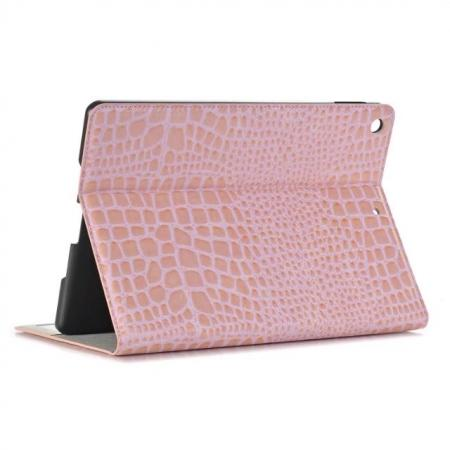 Crocodile Folio Flip Alligator Pattern Leather Protective Stand Cover for New iPad 9.7 (2017) - Pink