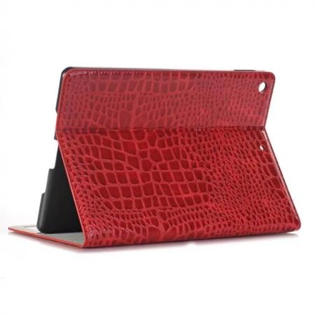 Crocodile Folio Flip Alligator Pattern Leather Protective Stand Cover for New iPad 9.7 (2017) - Red