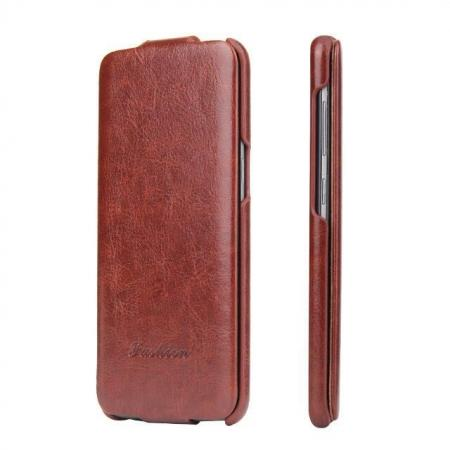 High Quality PU Leather Case Vertical Flip Cover Up Down Flip Phone Shell for Samsung Galaxy S8+ Plus - Brown