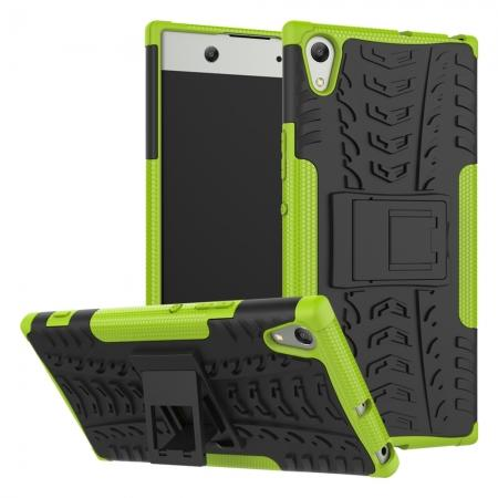 Rugged Dual Layer Hard /TPU Hybrid Defender Kickstand Case For Sony Xperia XA1 Ultra - Green
