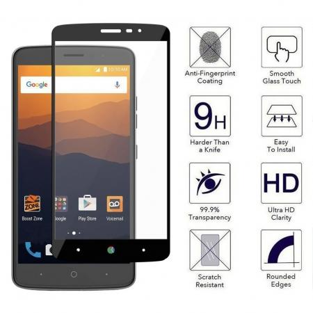 Black Full Coverage 9H Hardness Tempered Glass Screen Protector for ZTE MAX  XL N9560