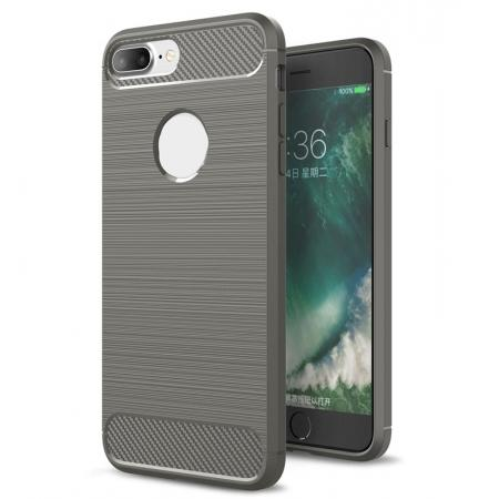 Brushed Metal Texture Soft TPU Silicone Carbon Fiber Protective Cover for iPhone 7 Plus - Grey