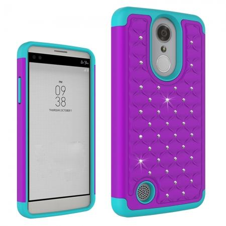 Crystal Diamond Bling Hybrid Armor Case For LG Rebel 2 LTE - Purple&Teal