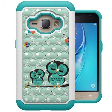Hybrid Armor Dual Layer Diamond Protective Case for Samsung Galaxy J1 2016 / Galaxy AMP 2  - Owl