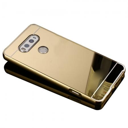 Luxury Aluminum Metal Bumper Mirror PC Back Case Cover for LG V20 - Gold