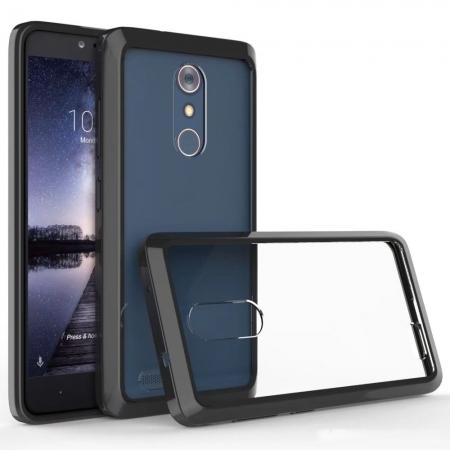 TPU Bumper & Acrylic Hybrid Shockproof Phone Cover Case For ZTE Zmax Pro Z981 - Black&Clear