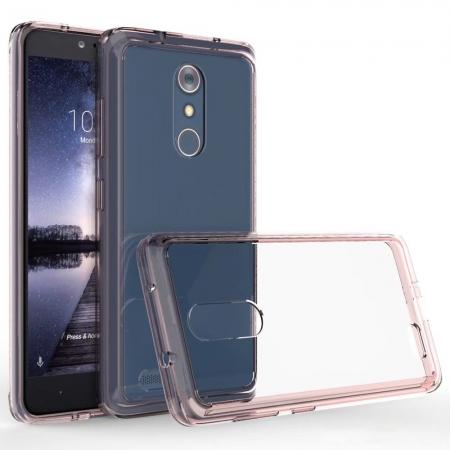 TPU Bumper & Acrylic Hybrid Shockproof Phone Cover Case For ZTE Zmax Pro Z981 - Rose Gold&Clear