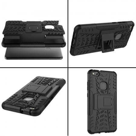new concept b061f 5336b Hard TPU Skin Shockproof Hybrid Kickstand Rugged Armor Case For Huawei P10  Lite - Red