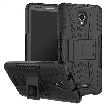Rugged Armor Protective Case with Kickstand For Alcatel Fierce 4 / Pop 4 Plus / Allura - Black