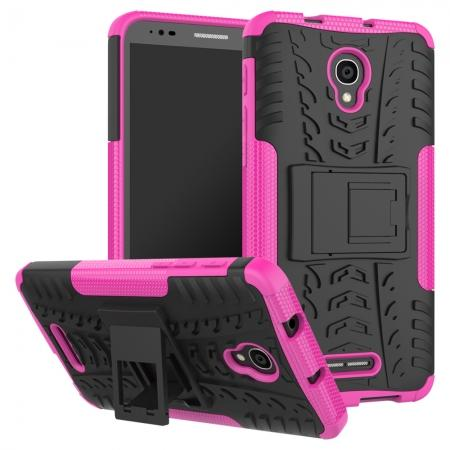 Rugged Armor Protective Case with Kickstand For Alcatel Fierce 4 / Pop 4 Plus / Allura - Hot pink