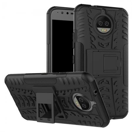 Hybrid Shockproof Rugged Armor Case Cover with Kickstand for Motorola Moto G5s Plus - Black