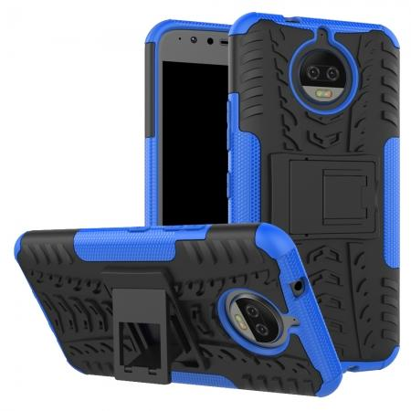 Hybrid Shockproof Rugged Armor Case Cover with Kickstand for Motorola Moto G5s Plus - Blue
