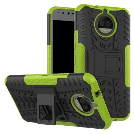 Hybrid Shockproof Rugged Armor Case Cover with Kickstand for Motorola Moto G5s Plus - Green
