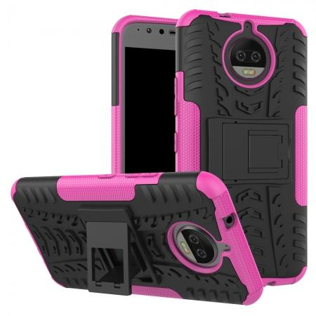 Hybrid Shockproof Rugged Armor Case Cover with Kickstand for Motorola Moto G5s Plus - Hot pink