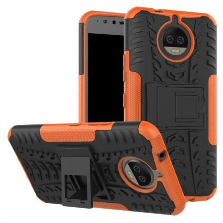 Hybrid Shockproof Rugged Armor Case Cover with Kickstand for Motorola Moto G5s Plus - Orange
