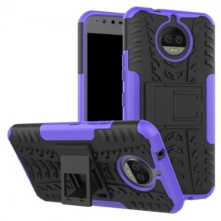 Hybrid Shockproof Rugged Armor Case Cover with Kickstand for Motorola Moto G5s Plus - Purple