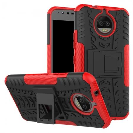 Hybrid Shockproof Rugged Armor Case Cover with Kickstand for Motorola Moto G5s Plus - Red