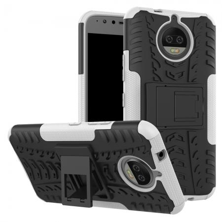 Hybrid Shockproof Rugged Armor Case Cover with Kickstand for Motorola Moto G5s Plus - White