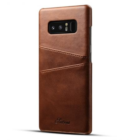 Wallet Credit Card Slots Leather Case Back Cover Skin for Samsung Galaxy Note 8 - Dark Brown