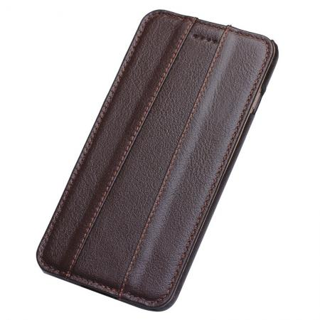 100% Real Genuine Cowhide Leather Vertical Flip Case for iPhone 8 - Brown