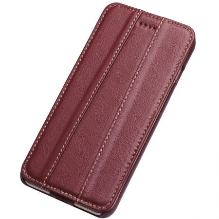 100% Real Genuine Cowhide Leather Vertical Flip Case for iPhone 8 - Wine Red