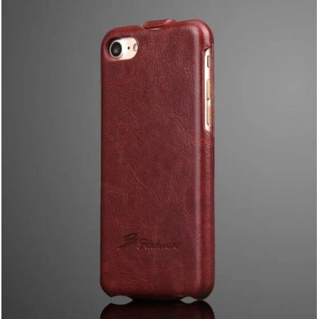 Crazy Horse Grain Top Flip Leather Case for iPhone 8 4.7inch - Brown