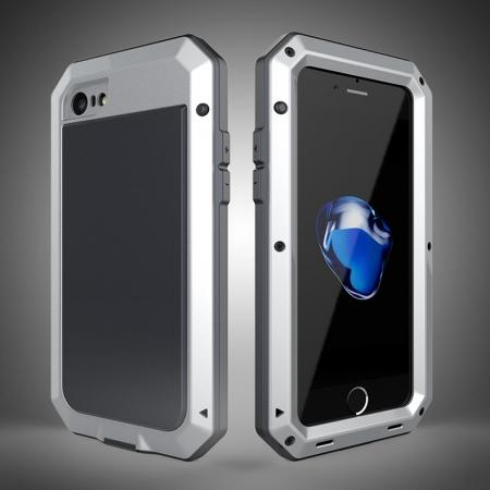 Full-Body Aluminum Metal Cover & Tempered Glass Screen Protector Case for iPhone