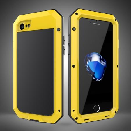 Full-Body Aluminum Metal Cover & Tempered Glass Screen Protector Case for iPhone 8 - Yellow